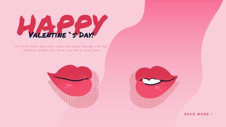Plantilla de diseño de Kissing red lips on Valentine's Day Full HD video
