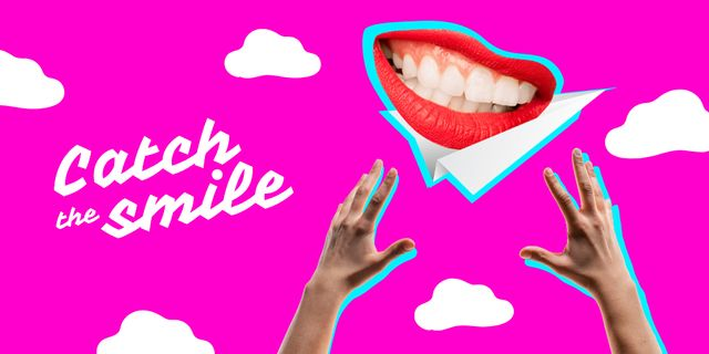 Funny illustration of hands trying to catch smiling mouth Twitter Modelo de Design