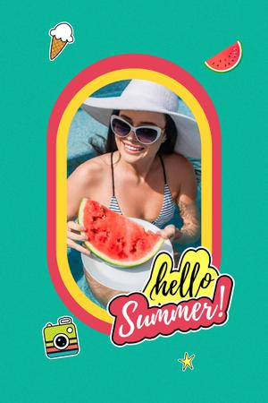 Template di design Summer Inspiration with Happy Girl on Beach Pinterest