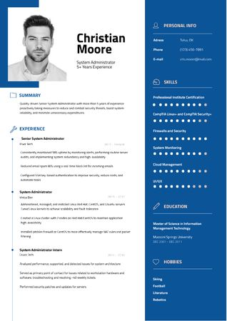 Template di design Computer Science skills and experience Resume