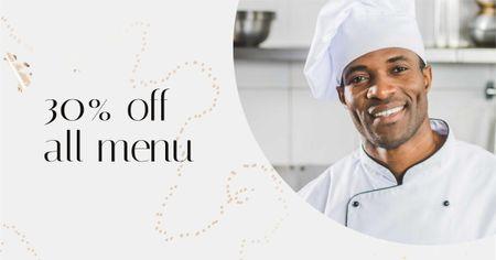 Plantilla de diseño de Restaurant Promotion Chef in White Toque Facebook AD