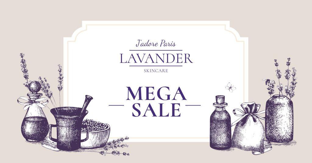 Lavender Skincare Discount Sale Offer Facebook AD Design Template