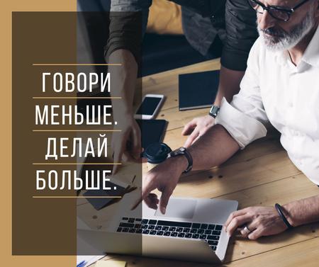 Office Team Working by Laptop Facebook – шаблон для дизайна