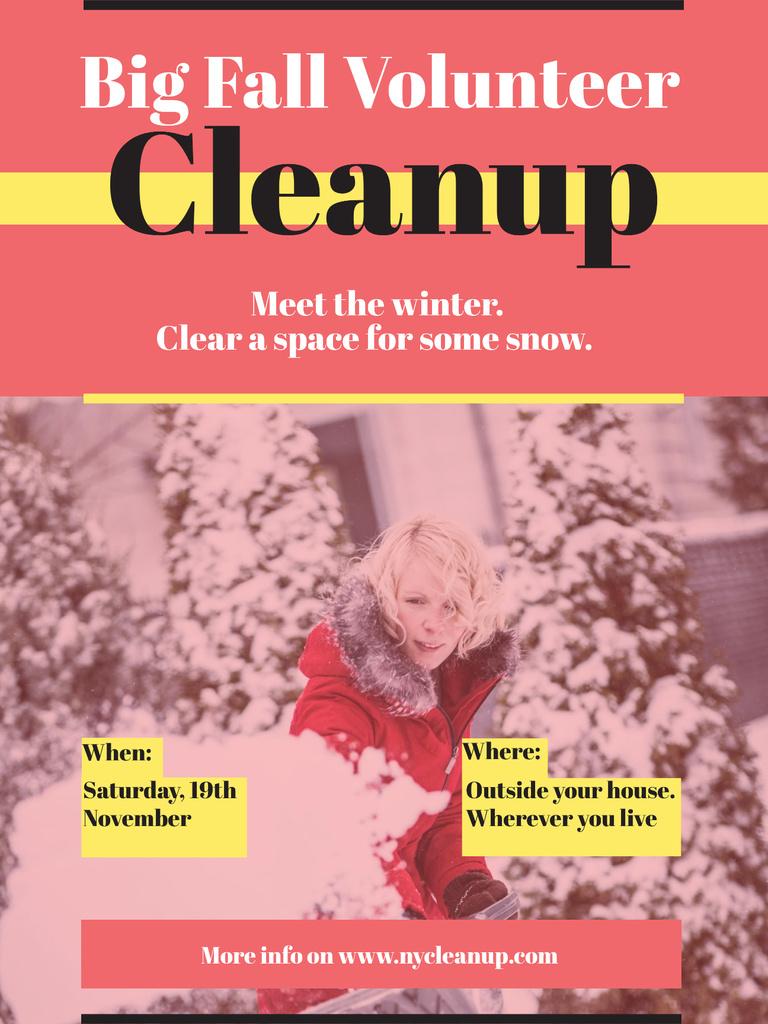 Woman at Winter Volunteer clean up Poster US – шаблон для дизайна
