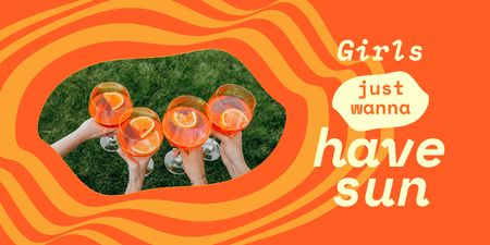 Summer Inspiration with Girls holding Cocktails Twitter Design Template