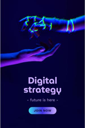 Modèle de visuel Digital Strategy Ad with Human and Robot Hands - Pinterest