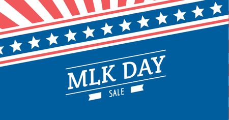 Plantilla de diseño de MLK Day Sale with American Flag Facebook AD