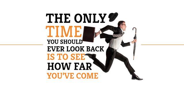 Ontwerpsjabloon van Twitter van Motivational quote with Running Businessman