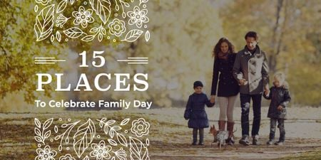 15 places to celebrate family day poster Image Modelo de Design