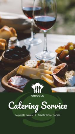 Catering Services Ad Wine and Cheese Plate Instagram Story Modelo de Design