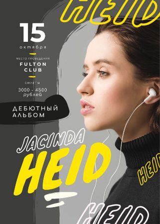 Concert ad Woman Listening Music in Headphones Flayer – шаблон для дизайна