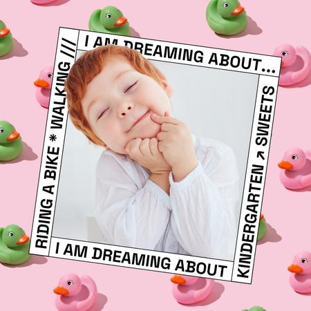 Cute Little Child and Toy Ducks Instagram – шаблон для дизайну