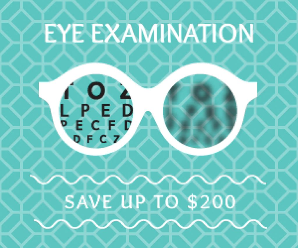 Clinic Promotion Eye Examination Offer in Blue Medium Rectangle Design Template
