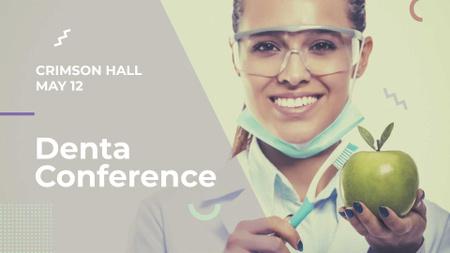 Dental Clinic Doctor holding apple FB event cover Modelo de Design