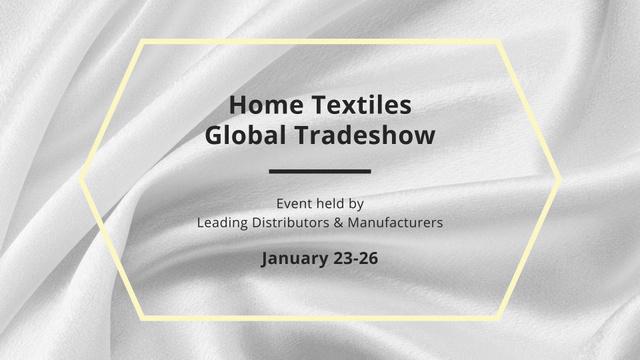 Home Textiles fair announcement on White Silk FB event cover Modelo de Design
