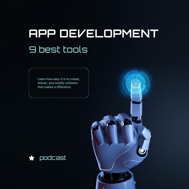 Plantilla de diseño de App Development Ad with Robot's hand Instagram