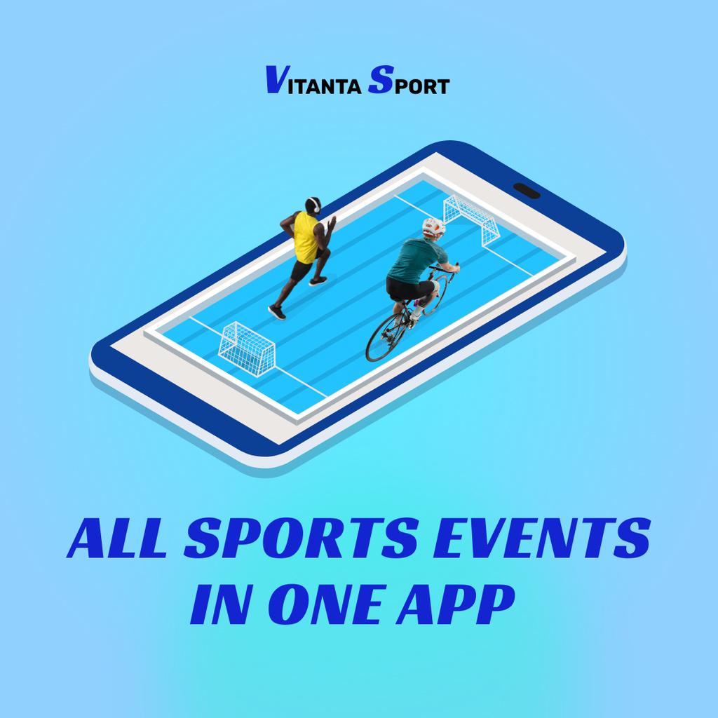 Modèle de visuel Sport App Ad with Players on Phone Screen - Instagram