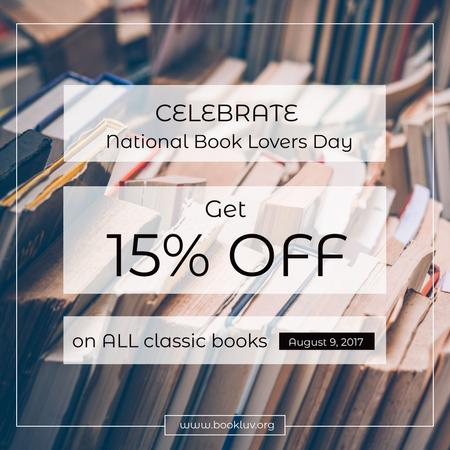 Designvorlage Discount card for National Book Lovers Day für Instagram