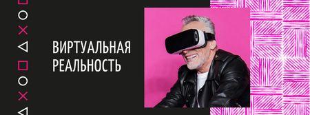 Man using vr glasses Facebook cover – шаблон для дизайна