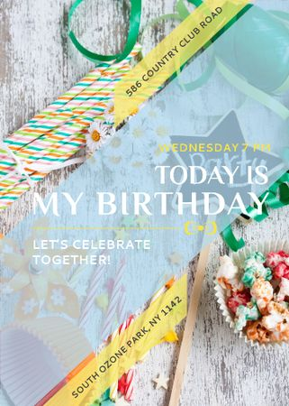 Birthday Party Invitation Bows and Ribbons Flayer – шаблон для дизайна