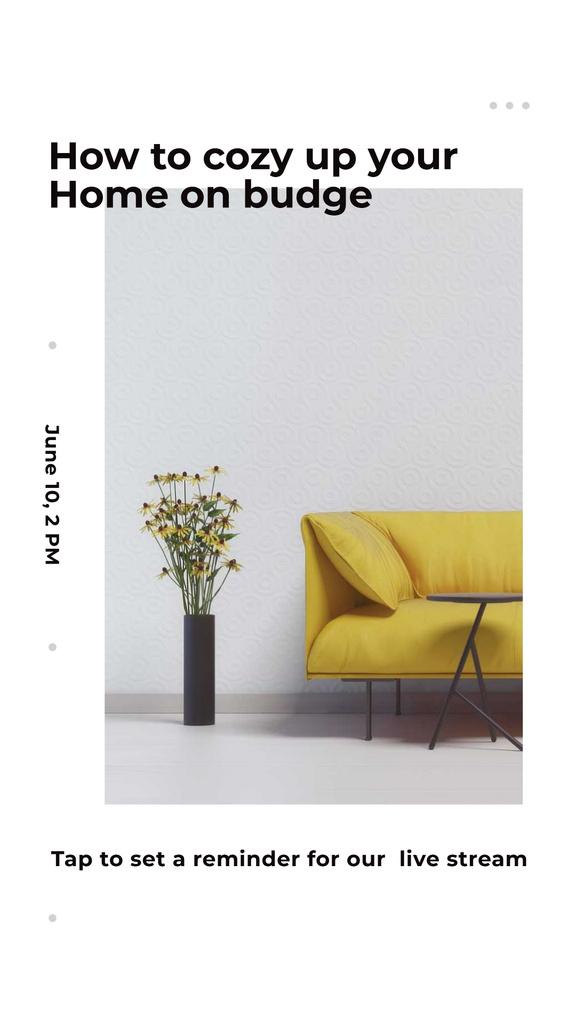 Ontwerpsjabloon van Instagram Story van Home Decor Live Stream Ad with Stylish Sofa