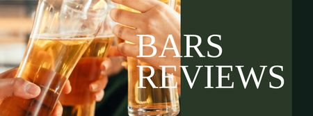 Plantilla de diseño de Bars Reviews with People holding Beer Facebook cover