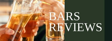 Template di design Bars Reviews with People holding Beer Facebook cover