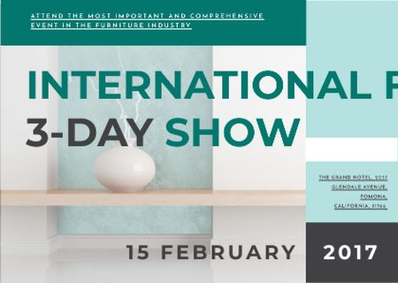 Plantilla de diseño de International furniture show Announcement Card