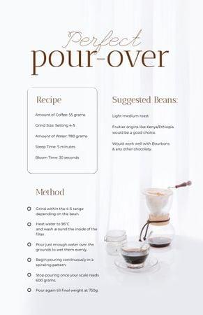 Ontwerpsjabloon van Recipe Card van Pour-over Cooking Steps