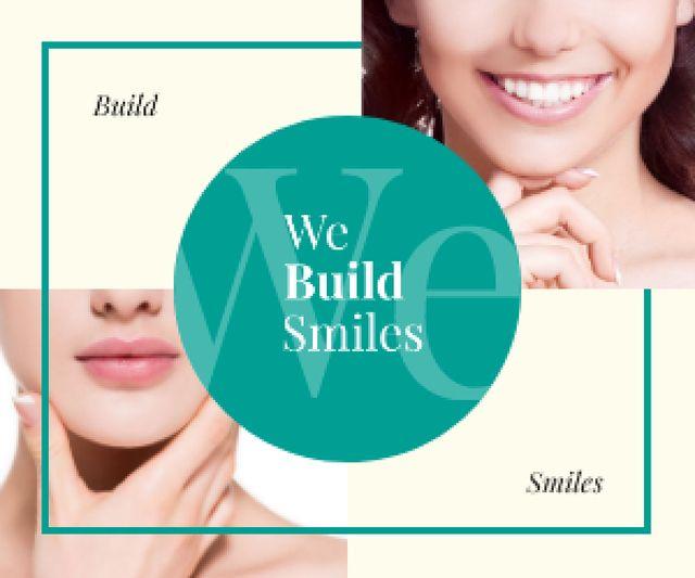 Dental Clinic Ad Female Smile with White Teeth Medium Rectangle Modelo de Design