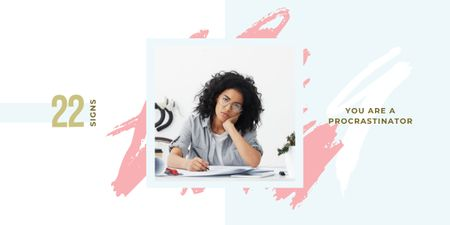 Designvorlage Girl student studying für Image