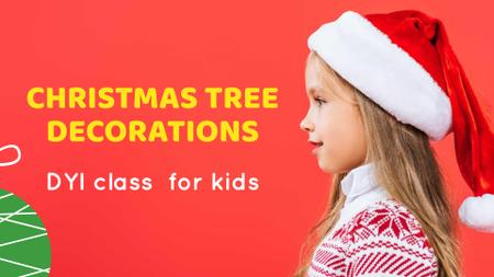 Christmas Decorations Offer with Cute Child in Santa's hat FB event cover Design Template