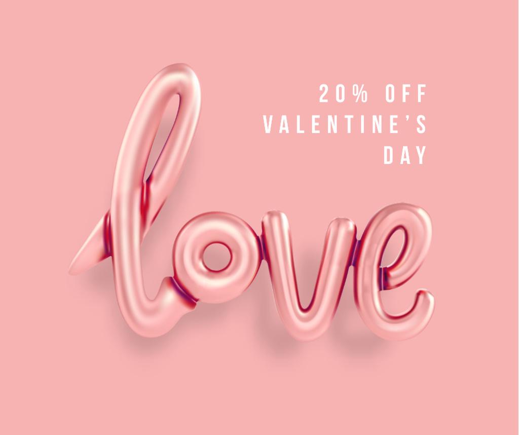 Valentine's Day sale with Love inscription Facebook Design Template