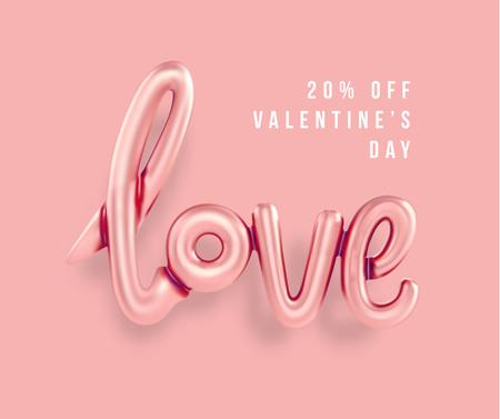 Template di design Valentine's Day sale with Love inscription Facebook