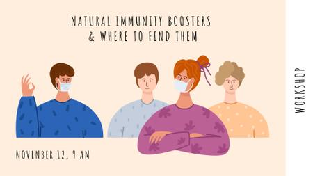 Modèle de visuel Healthcare concept with people wearing Masks - FB event cover