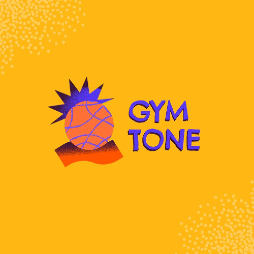 Gym Services Ad with Pineapple Illustration Logo – шаблон для дизайна