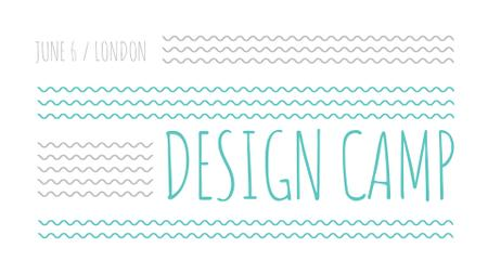 Design Camp promo on blue waves FB event coverデザインテンプレート
