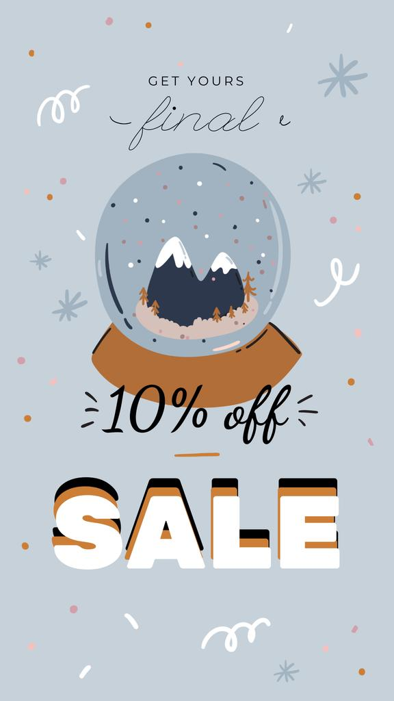 Winter Sale with Snow Globe Instagram Story Design Template