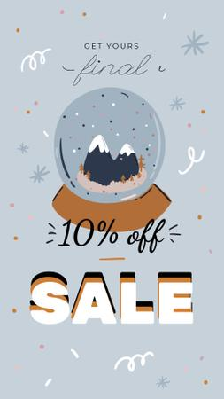 Template di design Winter Sale with Snow Globe Instagram Story