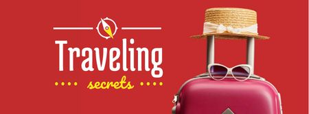 Travelling Inspiration Suitcase and Hat in Red Facebook cover Modelo de Design