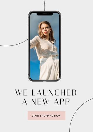 Fashion App with Stylish Woman on screen Poster Modelo de Design