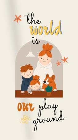 Plantilla de diseño de Family Day Greeting with Cute Kids and Dog Instagram Story