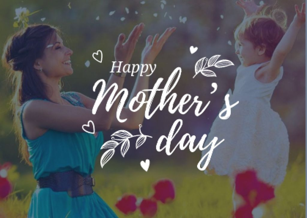 Happy Mother's Day with Mother playing with Daughter — Crear un diseño