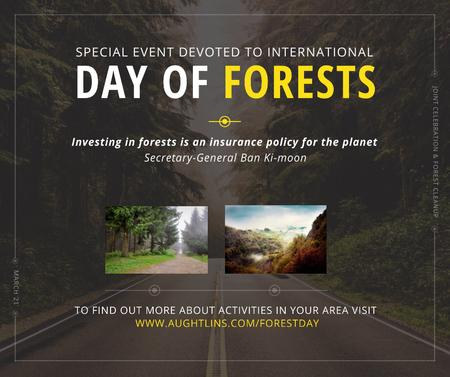 International Day of Forests Event Forest Road View Facebook Tasarım Şablonu