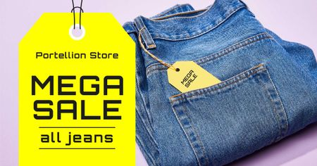 Plantilla de diseño de Jeans Mega Sale Announcement Facebook AD