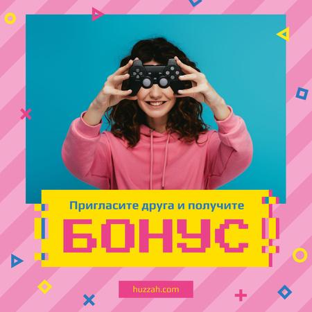 Video Games Ad with Girl Holding Gamepad Instagram – шаблон для дизайна