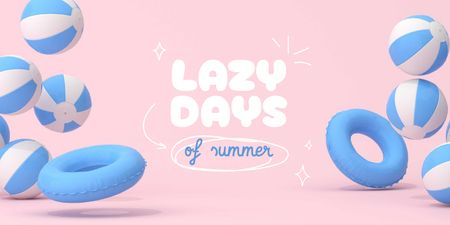 Summer Inspiration with Inflatable Rings and Balls Twitter Design Template