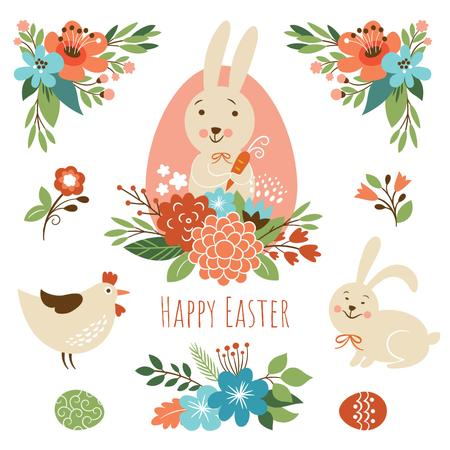 Cartoon Easter bunny with chicken and flowers Animated Postデザインテンプレート