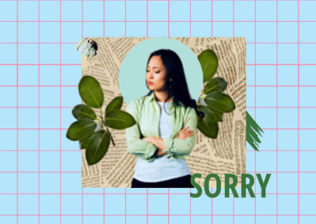 Apology Phrase with Cute Offended Girl Card – шаблон для дизайна