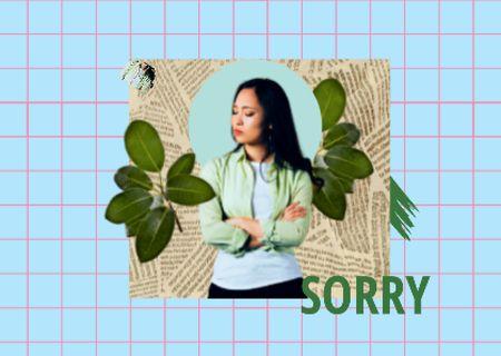 Plantilla de diseño de Apology Phrase with Cute Offended Girl Card
